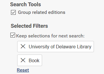 DELCAT Discovery search tools and selected filters