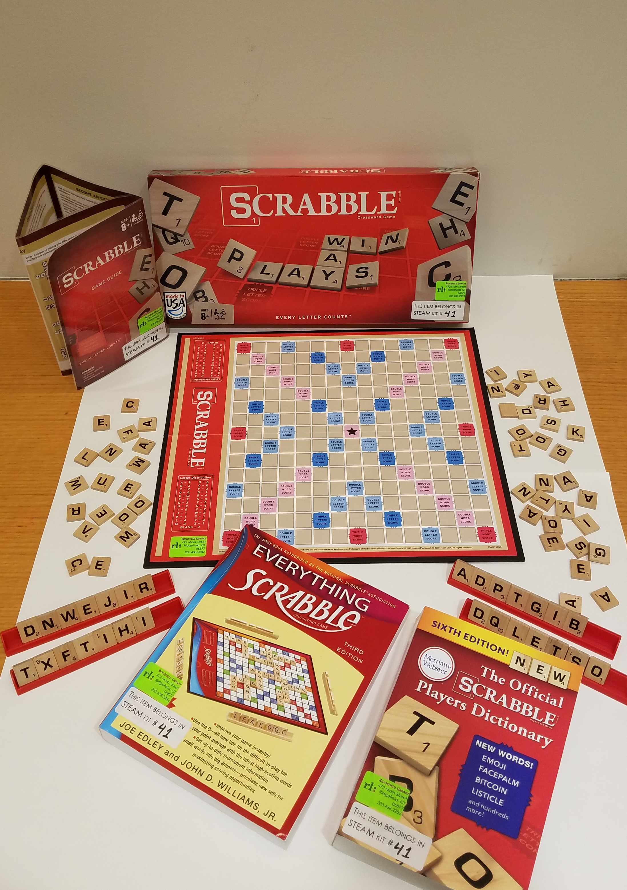 Scrabble game and books for playing scrabble