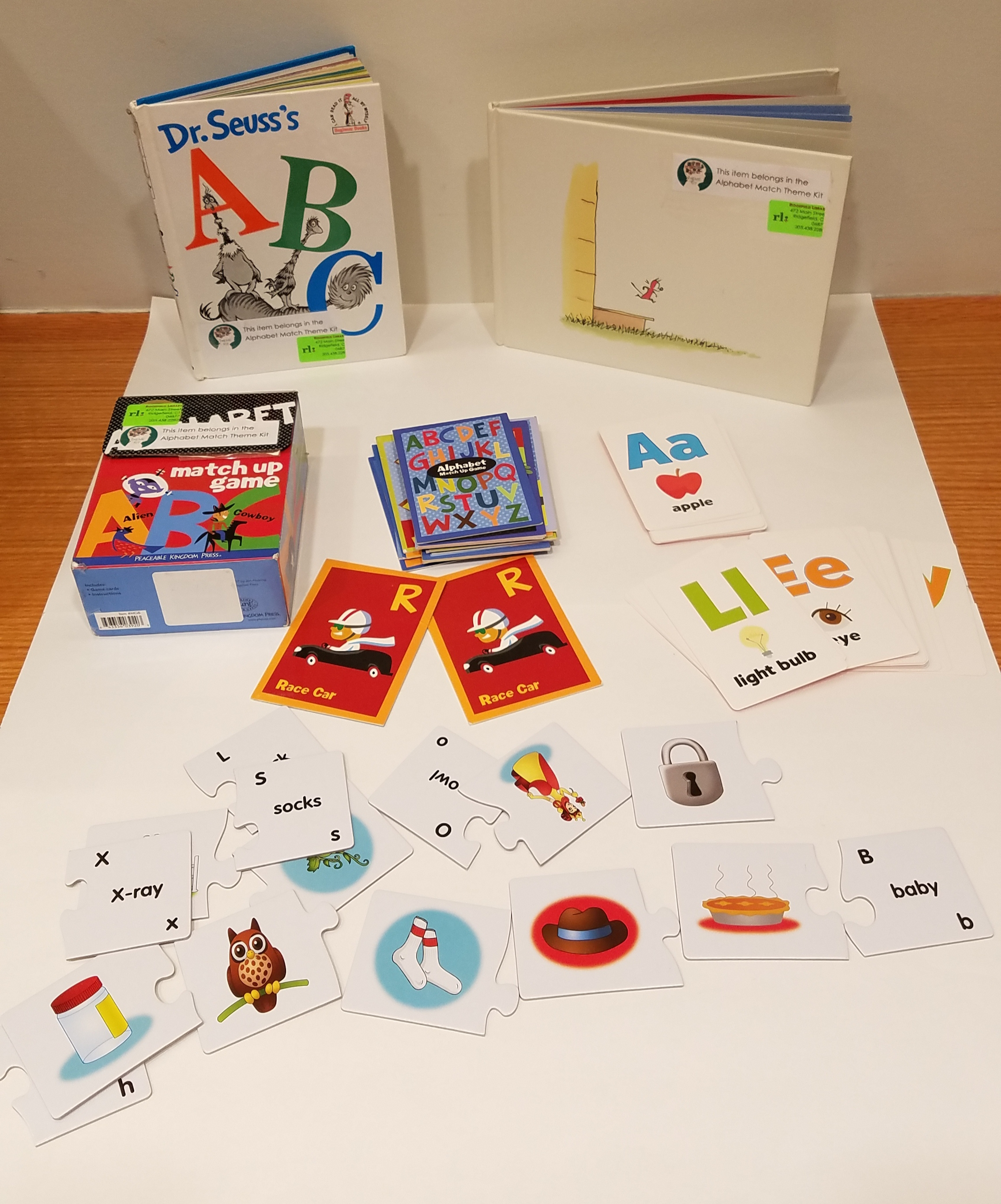 Books and games for developing letter recognition