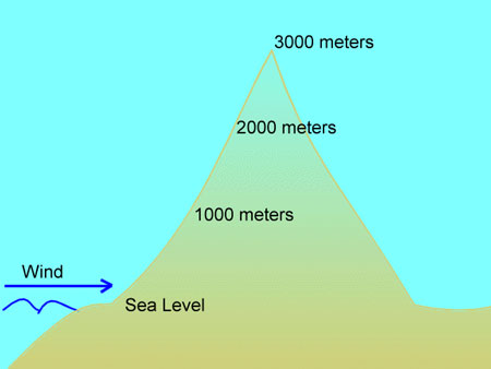 the mountain is 3000 meters in elevation, rising from sea level