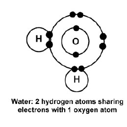 1 oxygen atom and 2 hydrogen atoms sharing electrons