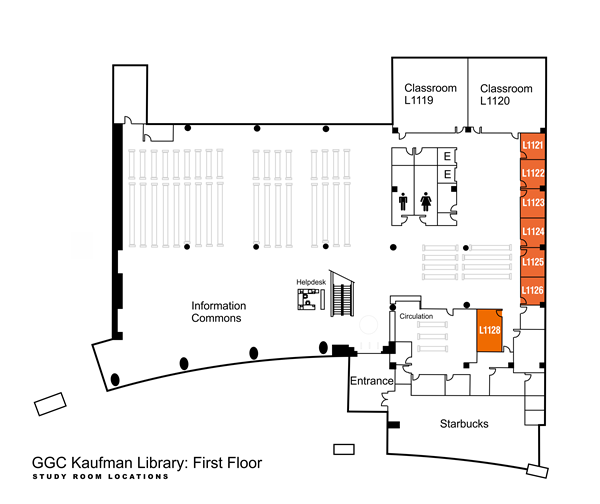 Kaufman Library first floor study rooms, L1121 through L1128, are located on the west side of the library, near the elevators and first floor restrooms.