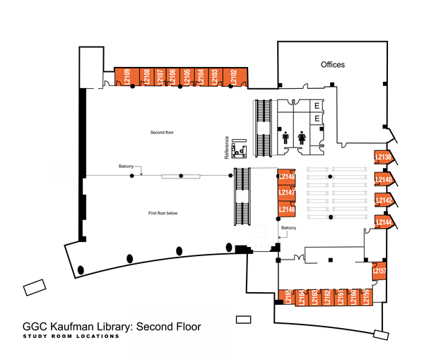 Kaufman Library second floor study rooms: L2102 through L2109 are located on the south side of the library, behind the reference desk, L2138 through L2157 are located on the northwest side of the library, by the circulating collection stacks.