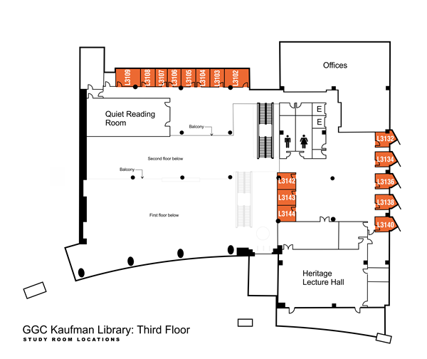 Kaufman Library third floor study rooms: L3102 through L3109 are on the south side of the library, by the Quiet Reading Room, and L3132 through L3144 are located on the northeast side of the library, by the Heritage Lecture Room.