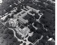 aerial photo of Rosary College, 1970s