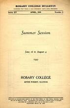 Rosary College Summer Session Bulletin, April 1939