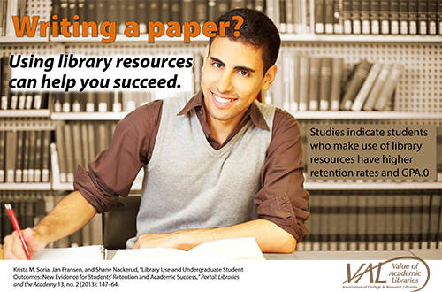 Library paper writing poster