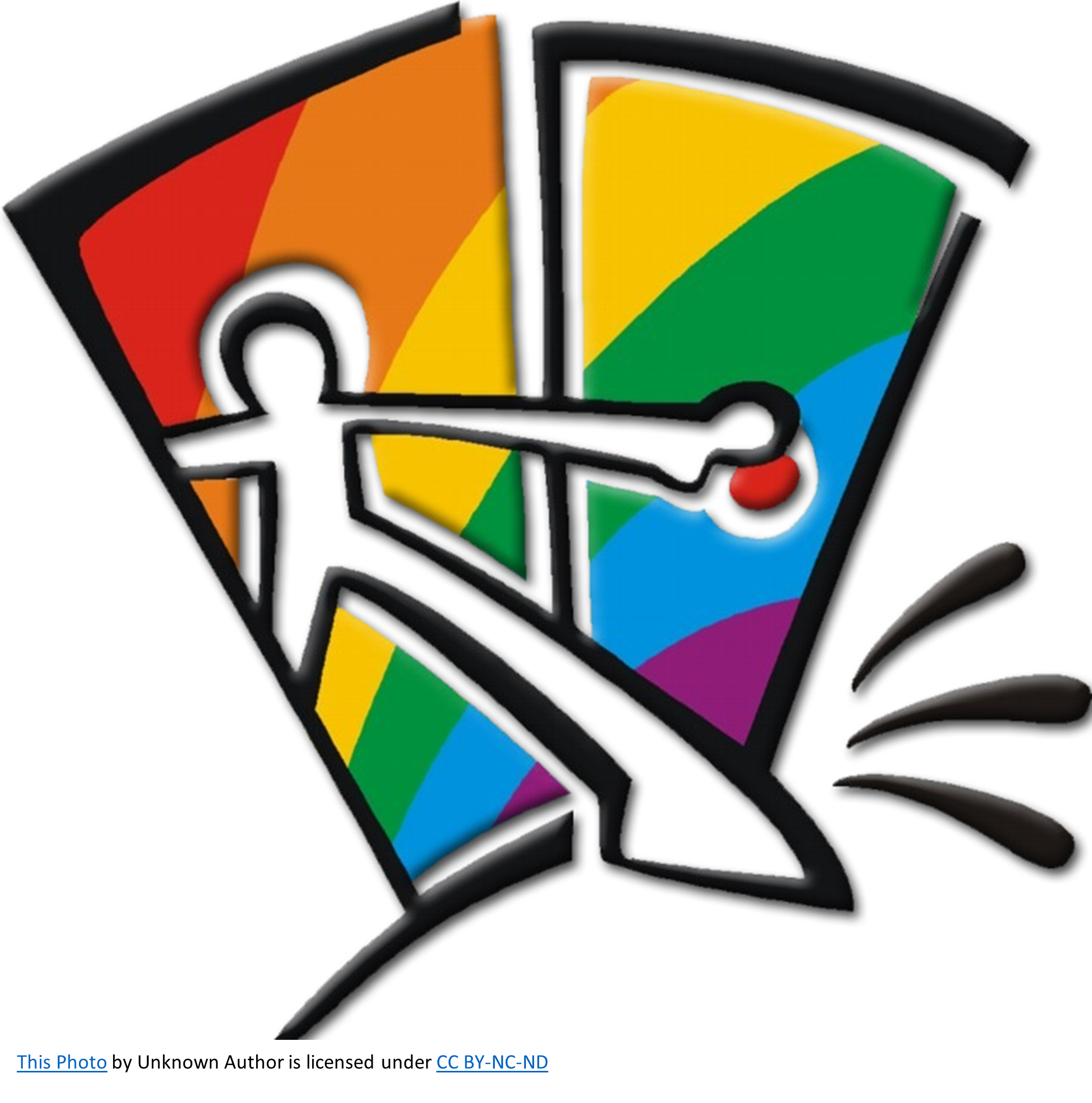 stick figure stepping through a doorway against a rainbow colored background