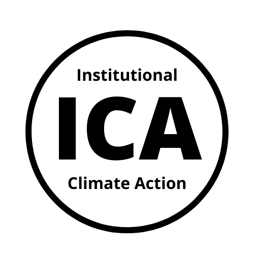 black and white logo circle with text reading institutional climate action