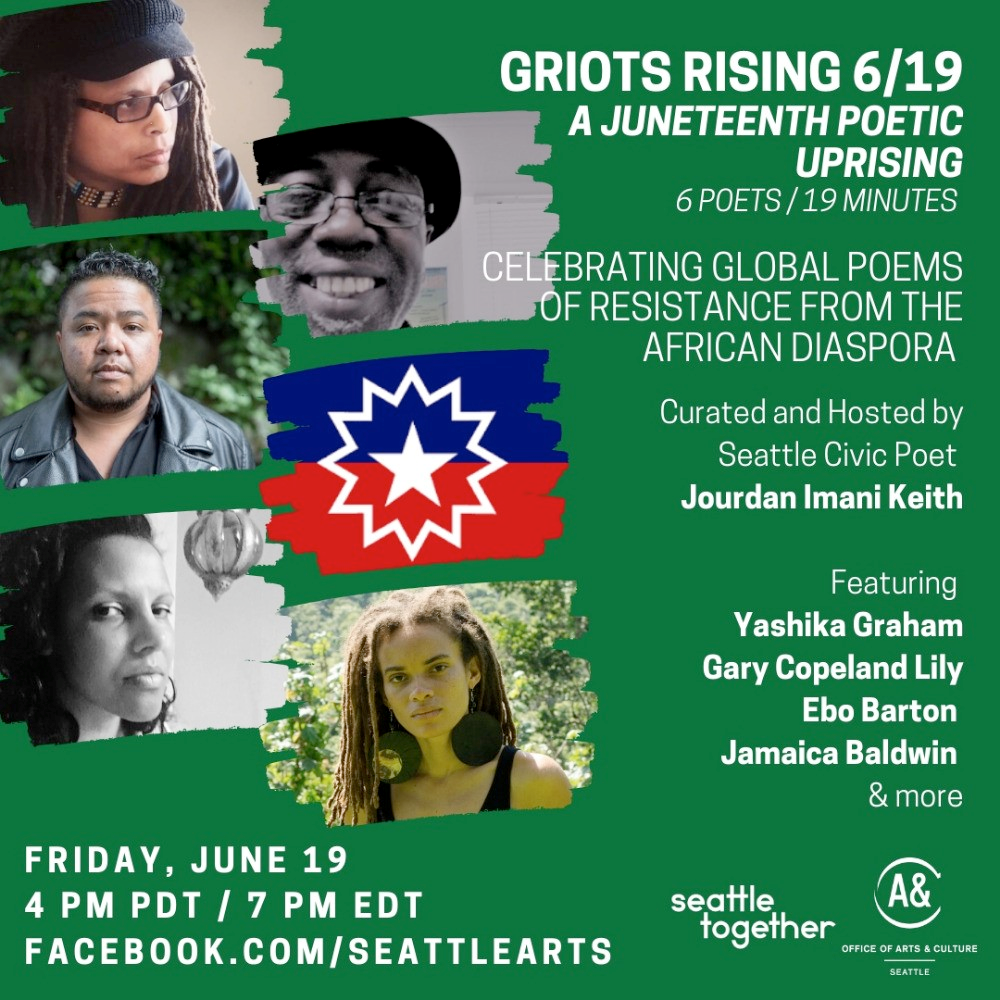 griots rising 6/19 - faces of black poets who will read at a juneteenth poetic uprising event