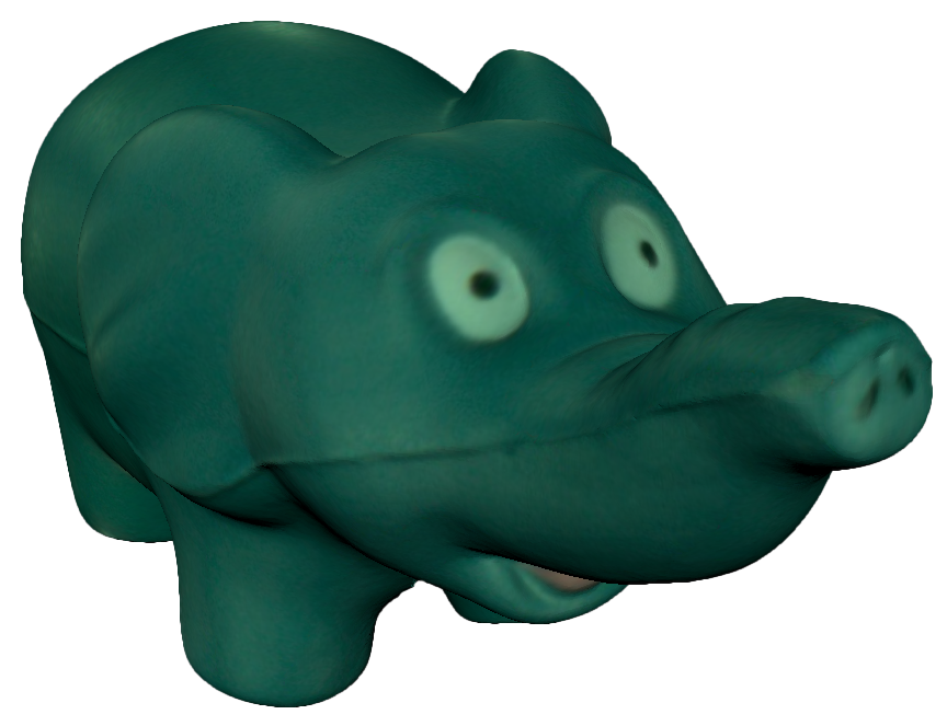 Digitized elephant rendered in 3D
