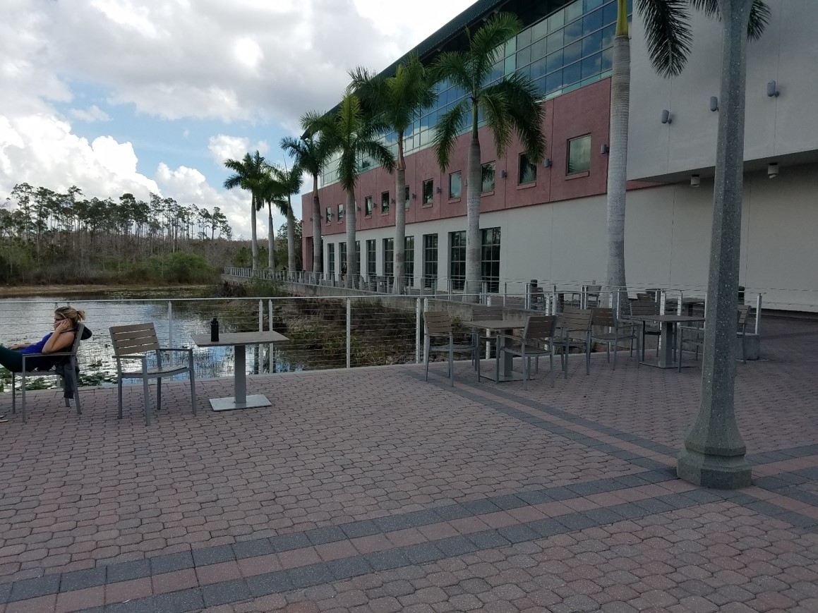 Library outside patio