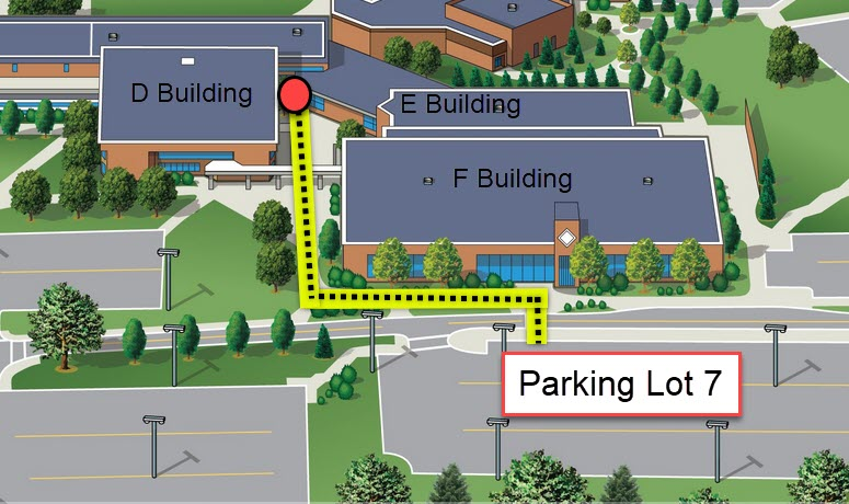 The contactless pickup area at the Auburn Hills Campus is located at the entrance of the G Building nearest to parking lots 9 or 14 on the east side of campus.