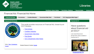picture of financial aid research guide homepage