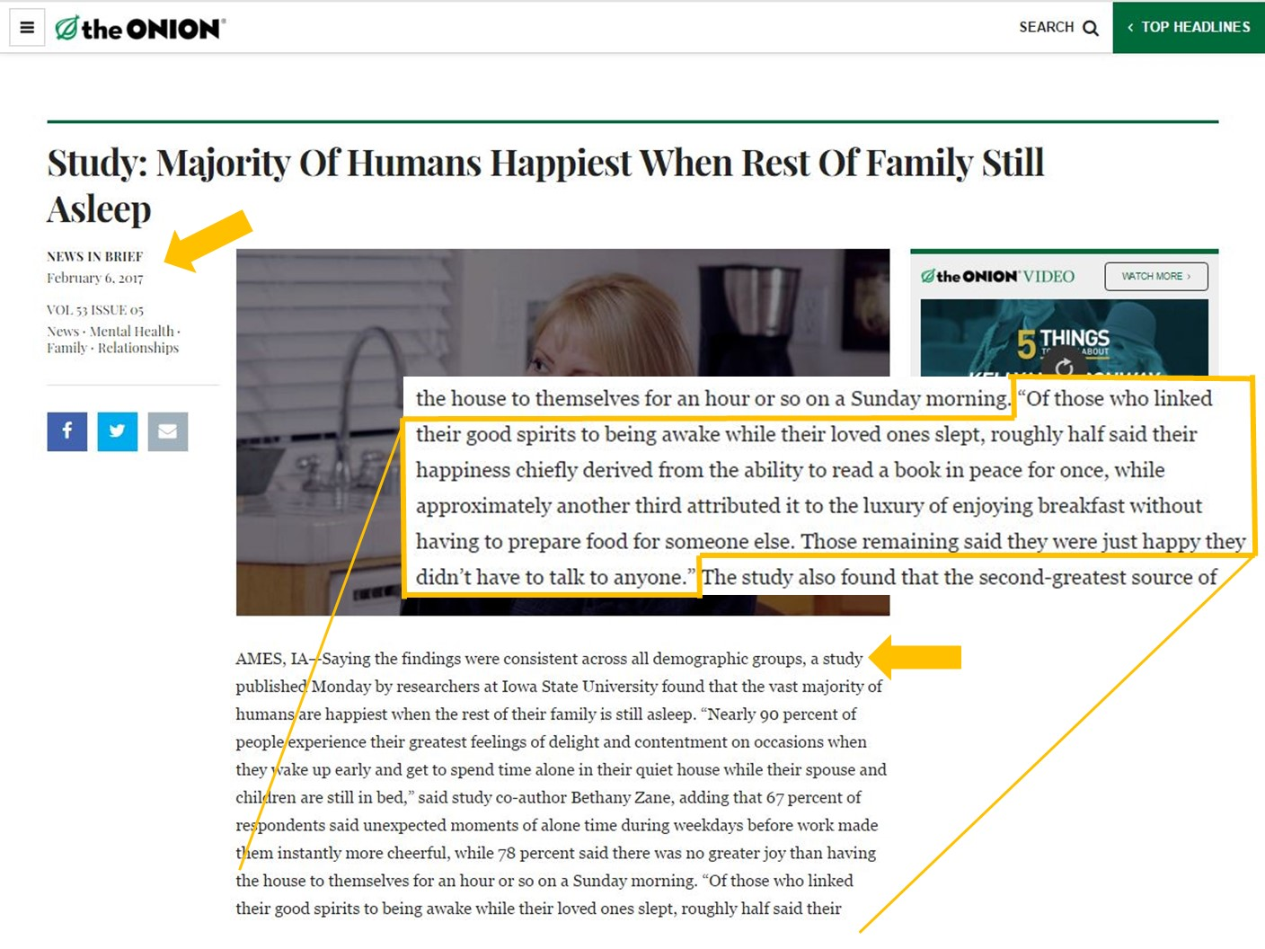 Screenshot of article from The Onion