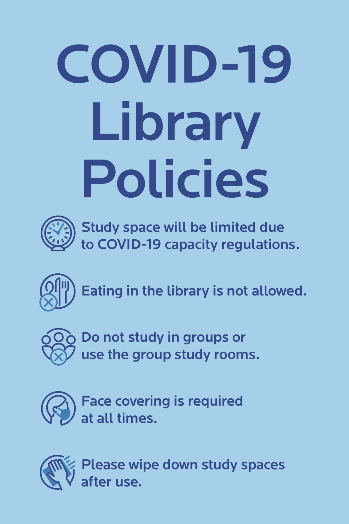 COVID-19 Library Policies poster