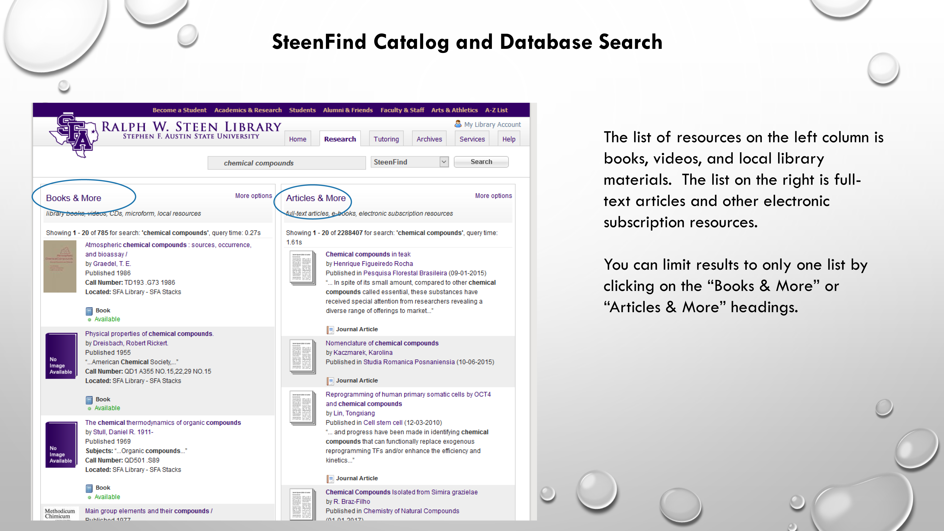 SteenFind Catalog and Database Search