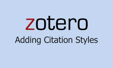 Zotero Adding Citation Styles Video