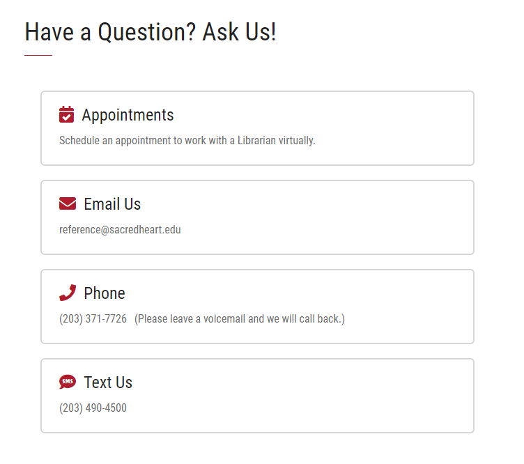 Ask a Librarian Contact Information