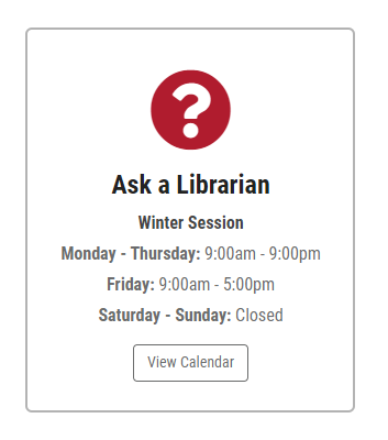 Ask a Librarian Hours