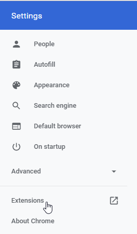 Extensions in Chrome Settings