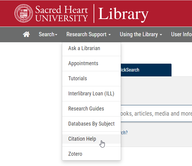 Citation Help Link under Research Support