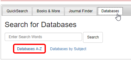 Databases A-Z link in the Databases Tab
