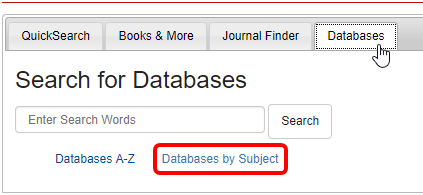 Databases by Subject link in the Databases Tab