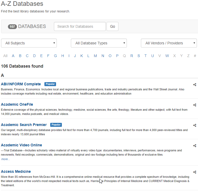 Databases A-Z page
