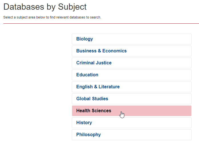 Databases subject list