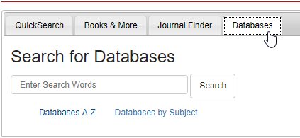 Databases Tab on the homepage