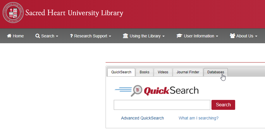 Databases tab on the library homepage