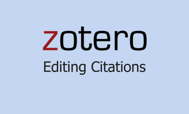 Zotero Editing Citations Video Tutorial