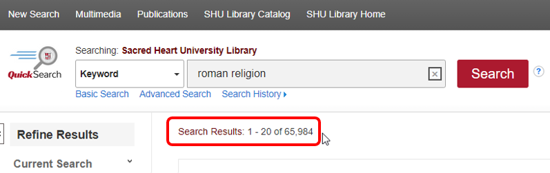 All results numbers for roman religion