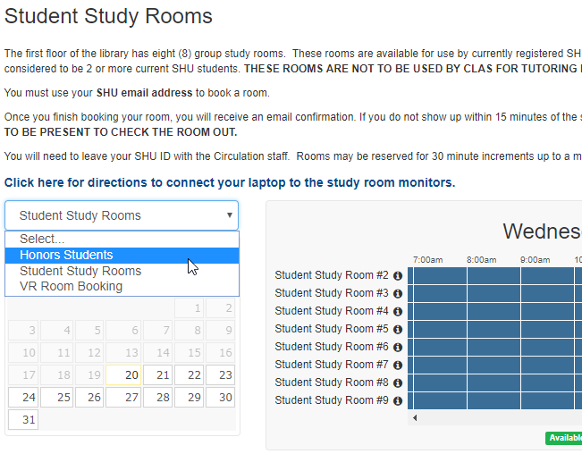 Reserve an Honors Study Room link