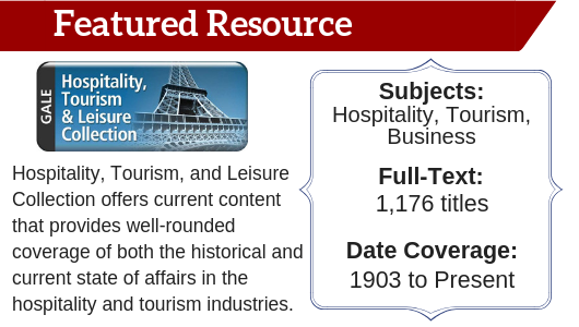 Hospitality, Tourism, and Leisure Collection Featured Resource