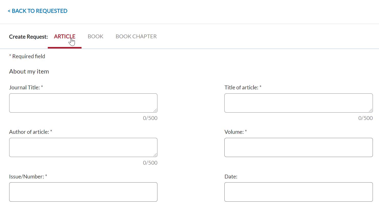 Interlibrary Loan (ILL) Create Request Form