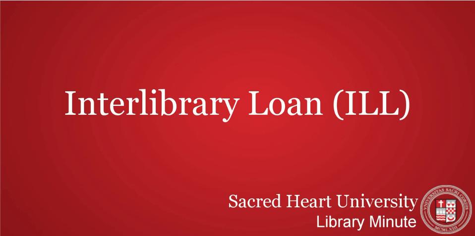 Interlibrary loan video tutorial