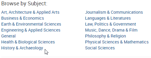 Journal Finder Browse by Subject