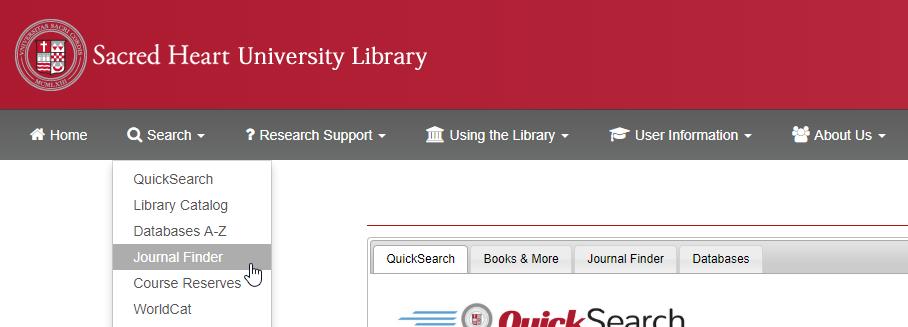 Journal Finder link in menu bar