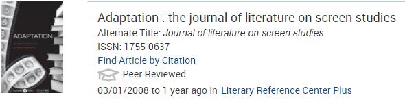 Journal Finder Result