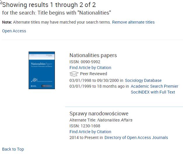 Journal Finder Results