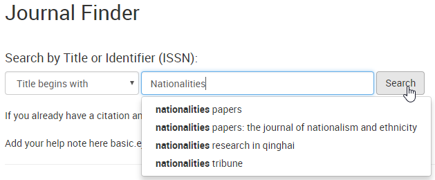 Journal Finder Search