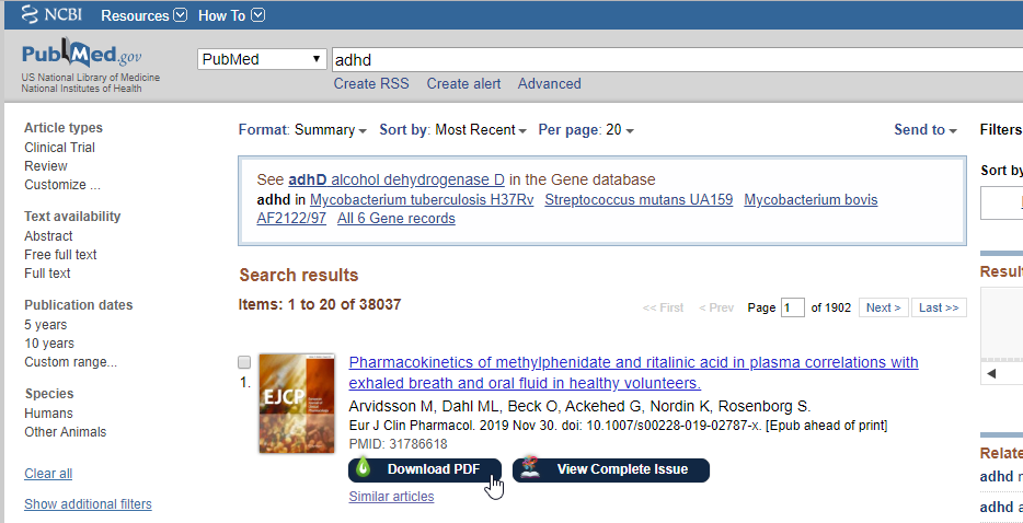 PubMed search with LibKey Nomad buttons