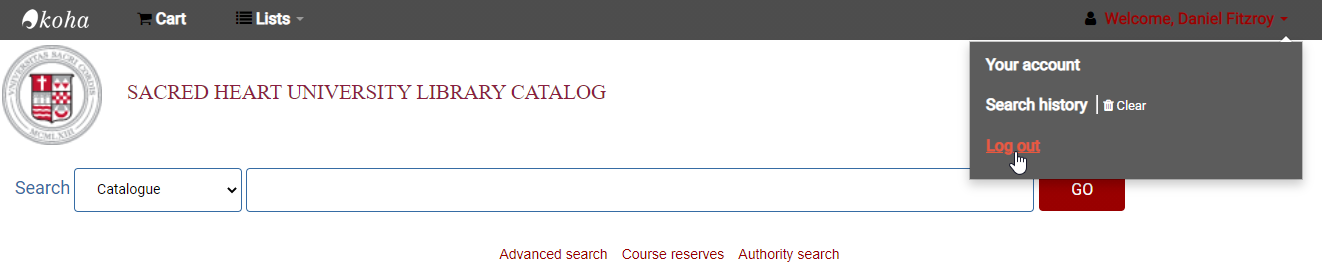 Library Account Access Logout link