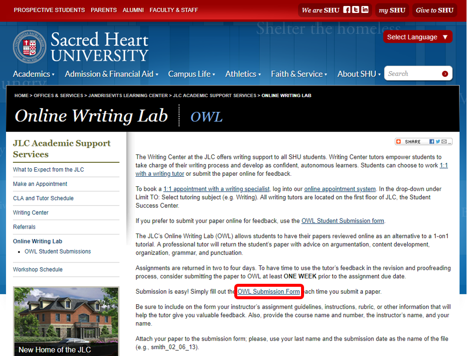 Online Writing Lab page