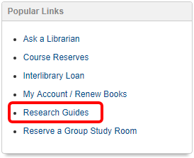 Popular Links section with Research Guides link highlighted
