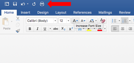 Printing Icon in Word for Mac