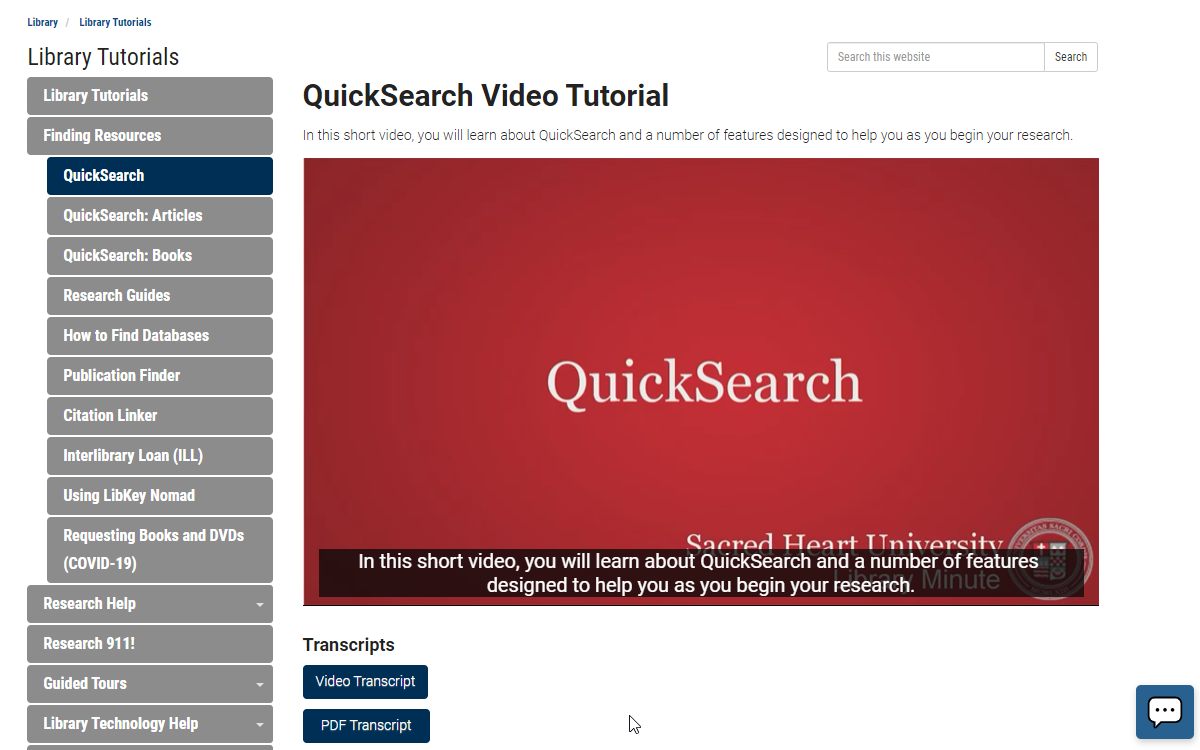 QuickSearch Video Tutorial Page