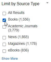 QuickSearch Limit by Source Type with Books selected